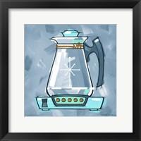 Framed Blue On Blue Coffee Pot