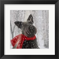 Framed Scotty Dog Red Scarf