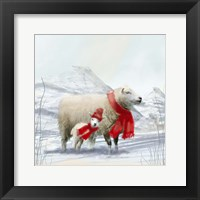 Framed Sheep Red Scarf