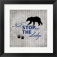 Blue Bear Lodge Sign 2 Framed Print