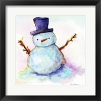Framed Snowman In Sunset