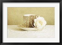 Framed Antique Cup and Saucer with White Flower and Pearls