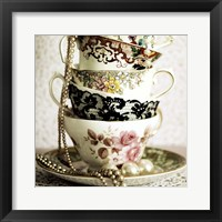 Framed Antique Cups and Saucers with Pearls 1