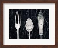 Framed Antique Knife Fork and Spoon