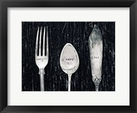 Framed Antique Knife Fork and Spoon