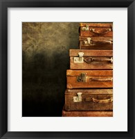 Framed Antique Luggage Suitcases