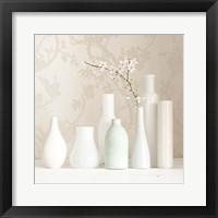 Framed Blossom and White Vases Still Life