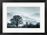Framed Blue Landscape with Tree