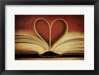 Framed Book Pages in Heart Shape
