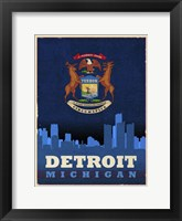 Framed Detroit City Flag
