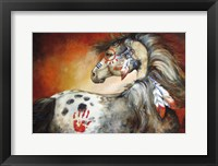 Framed 4 Feathers Indian War Pony