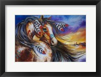 Framed 5 Feathers Indian War Horse