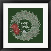 Framed Woodland Wreath II Green