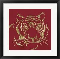 Framed Gilded Tiger on Red