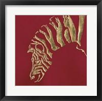 Framed Gilded Zebra on Red