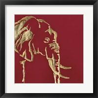 Framed Gilded Elephant on Red