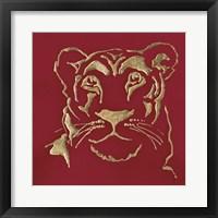 Framed Gilded Lioness on Red