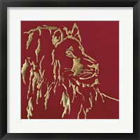 Framed Gilded Lion on Red