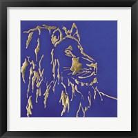 Framed Gilded Lion Indigo