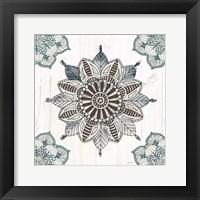 Mandala Morning VI Blue and Gray v2 Framed Print