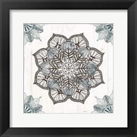 Mandala Morning V Blue and Gray v2 Framed Print