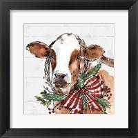 Holiday on the Farm VIII on Gray Framed Print