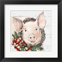 Holiday on the Farm VII on Gray Framed Print
