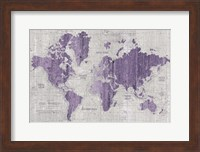 Framed Old World Map Purple Gray