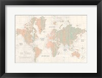 Framed Old World Map Blush and Mint