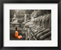 Framed Young Buddhist Monk Praying, Thailand (BW)