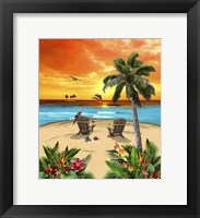 Framed Tropical Island Sunset