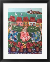 Framed Rosey Roofed Cottages and Quilts