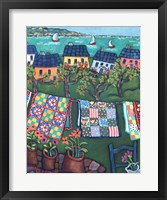 Framed Blue Roofed Cottages and Quilts