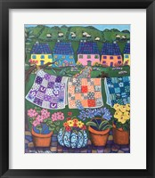 Framed Sheepish Hillsides with Cottages and Quilts