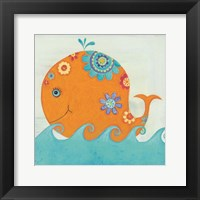 Framed Happy Floral Whale