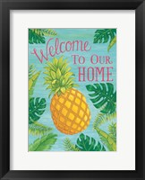 Framed Tropical Leaves & Pineapple