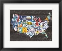 Framed USA License Plate Map C