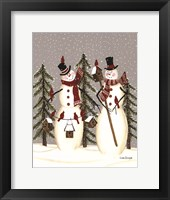 Framed Snowy Day Snowmen