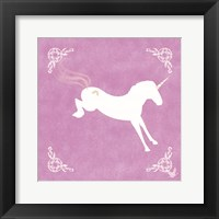 Framed Jumping Unicorn Triptych III