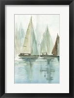 Framed Blue Sailboats II