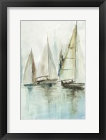 Framed Blue Sailboats III