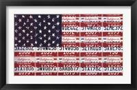 Framed USA License Flag