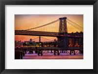 Framed Williamsburg Bridge at Twilight