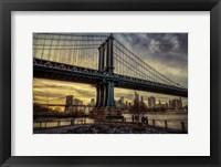 Framed Manhattan Bridge at Sunset