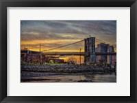 Framed Brooklyn Bridge at Sunset