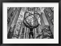 Framed Rockefeller plaza New York Black/White