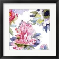 Framed Watercolor Flower Composition VII
