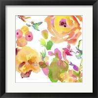 Framed Watercolor Flower Composition VIII