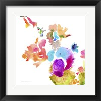 Framed Watercolor Flower Composition IX