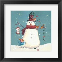 Framed Folk Snowman I